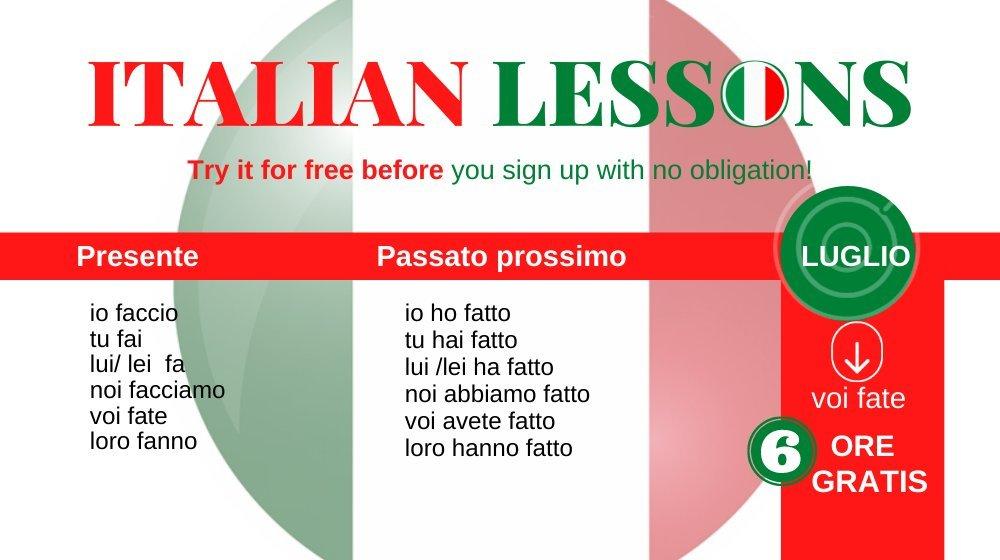 6 hours of free Italian lessons onlne